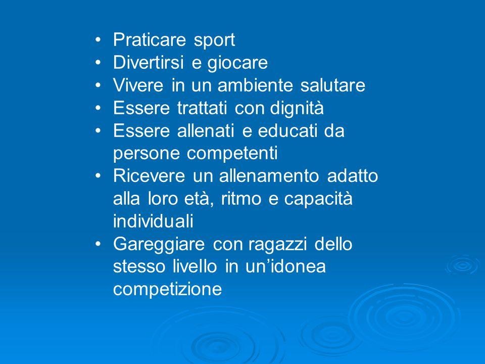 Praticare sport Divertirsi e giocare. Vivere in un ambiente salutare. Essere trattati con dignità.