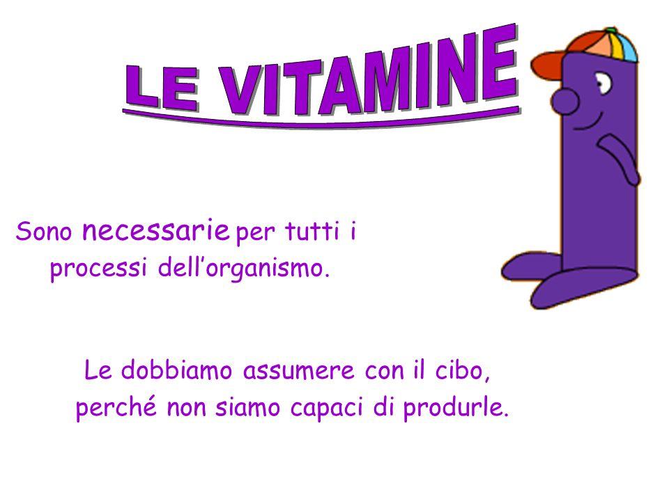 LE VITAMINE Sono necessarie per tutti i processi dell'organismo.