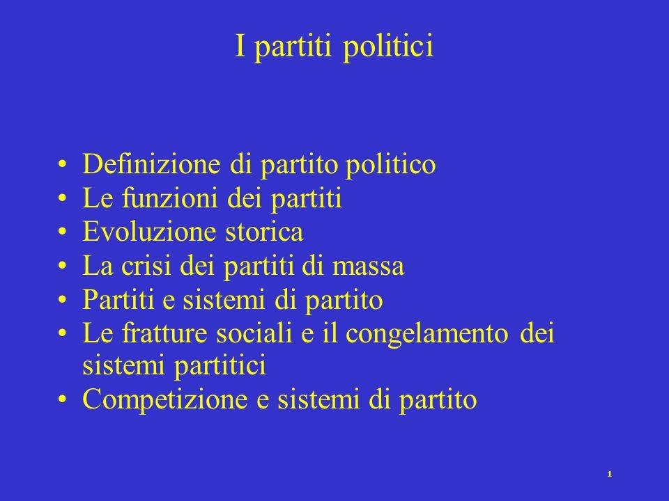 I partiti politici Definizione di partito politico
