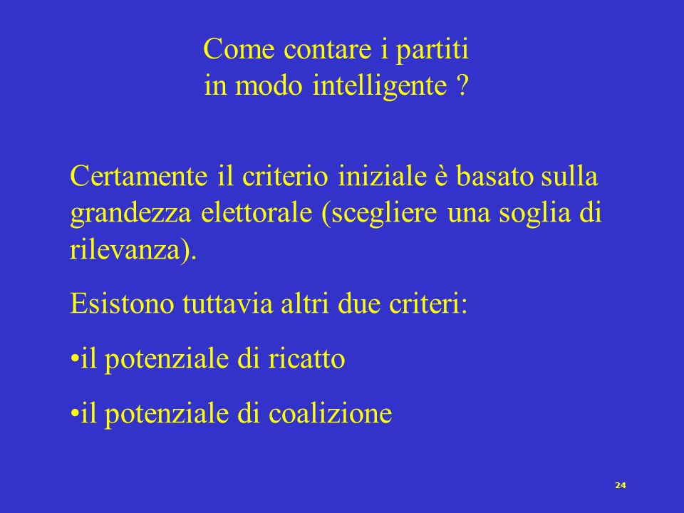 Come contare i partiti in modo intelligente