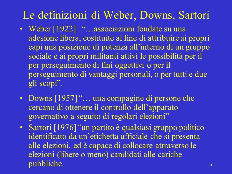 Le definizioni di Weber, Downs, Sartori