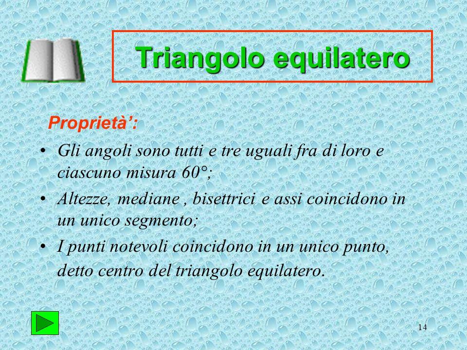 Triangolo equilatero Proprietà':