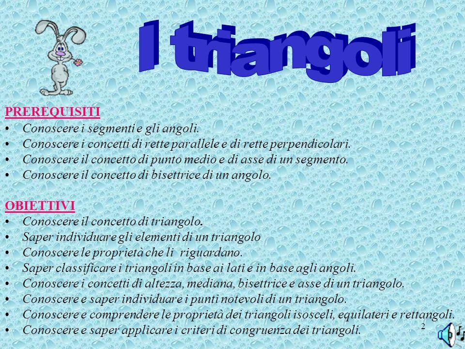 I triangoli PREREQUISITI Conoscere i segmenti e gli angoli.
