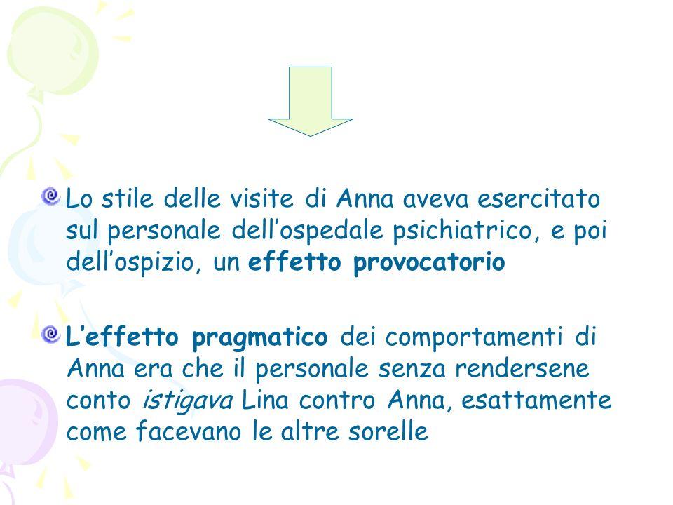 Lo stile delle visite di Anna aveva esercitato sul personale dell'ospedale psichiatrico, e poi dell'ospizio, un effetto provocatorio