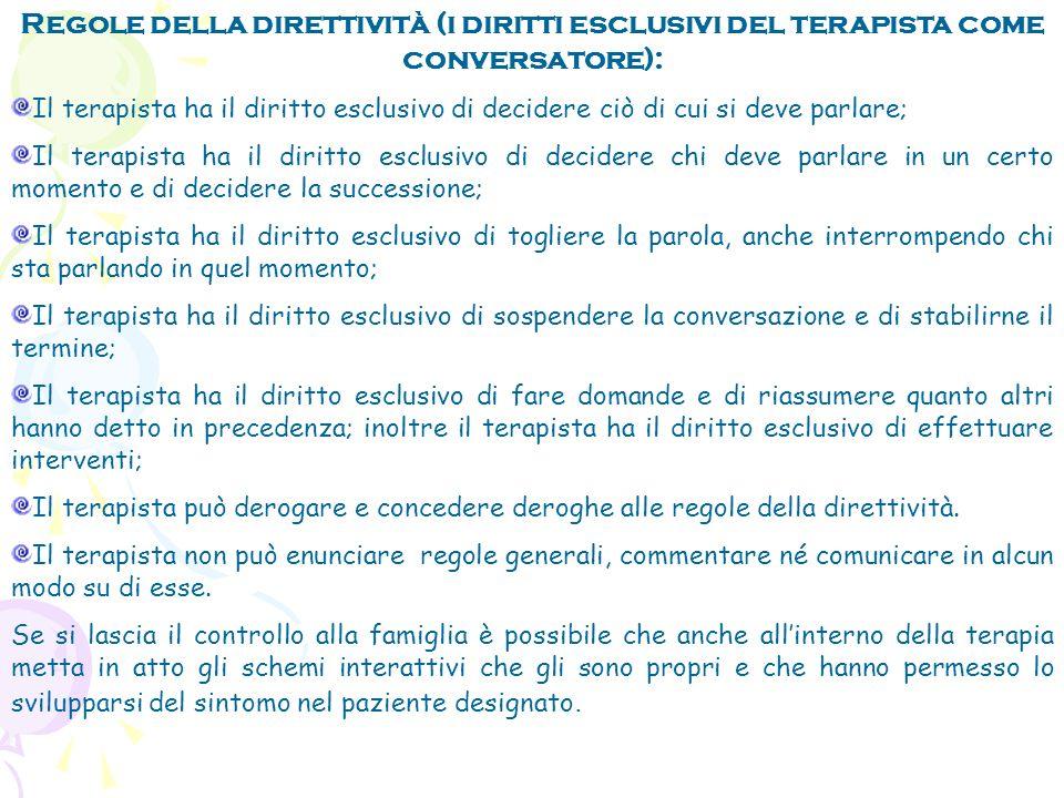 Regole della direttività (i diritti esclusivi del terapista come conversatore):