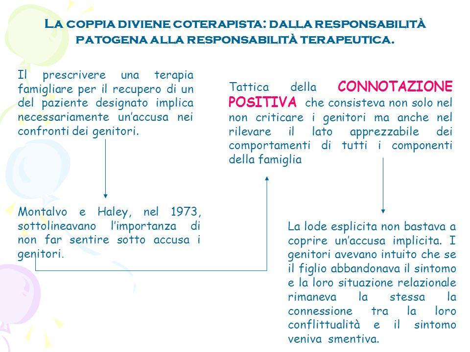 La coppia diviene coterapista: dalla responsabilità patogena alla responsabilità terapeutica.