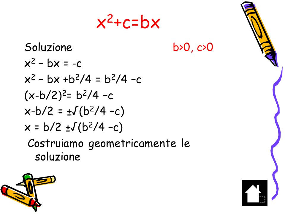 x2+c=bx Soluzione b>0, c>0 x2 – bx = -c x2 – bx +b2/4 = b2/4 –c