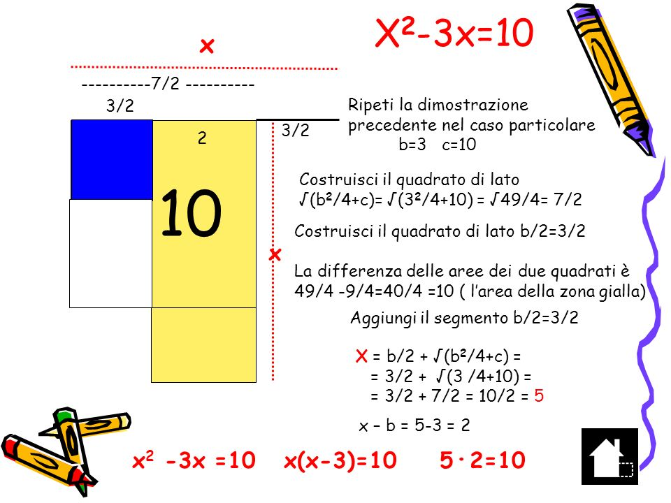 10 X2-3x=10 r x x2 -3x =10 x(x-3)=10 5∙2=10 x ----------7/2 ----------