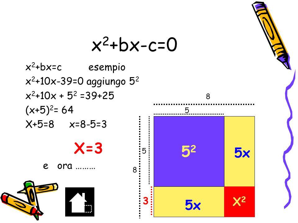 x2+bx-c=0 52 X=3 5x 5x X2 x2+bx=c esempio x2+10x-39=0 aggiungo 52