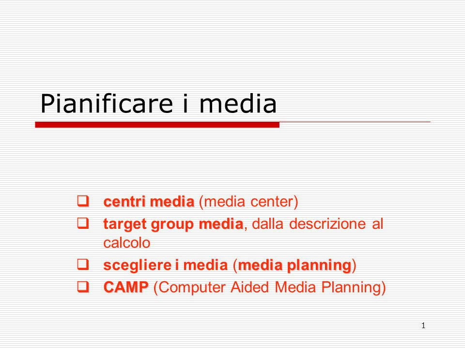 Pianificare i media centri media (media center)