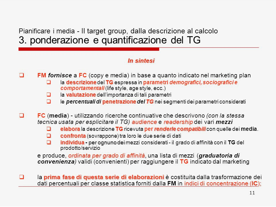 Pianificare i media - Il target group, dalla descrizione al calcolo 3