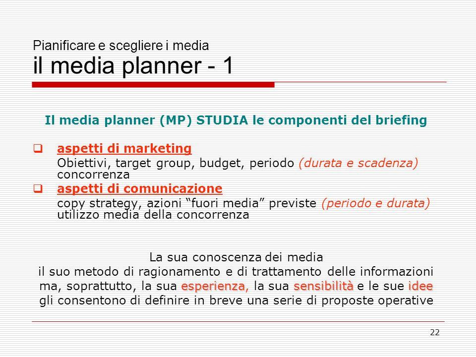Pianificare e scegliere i media il media planner - 1
