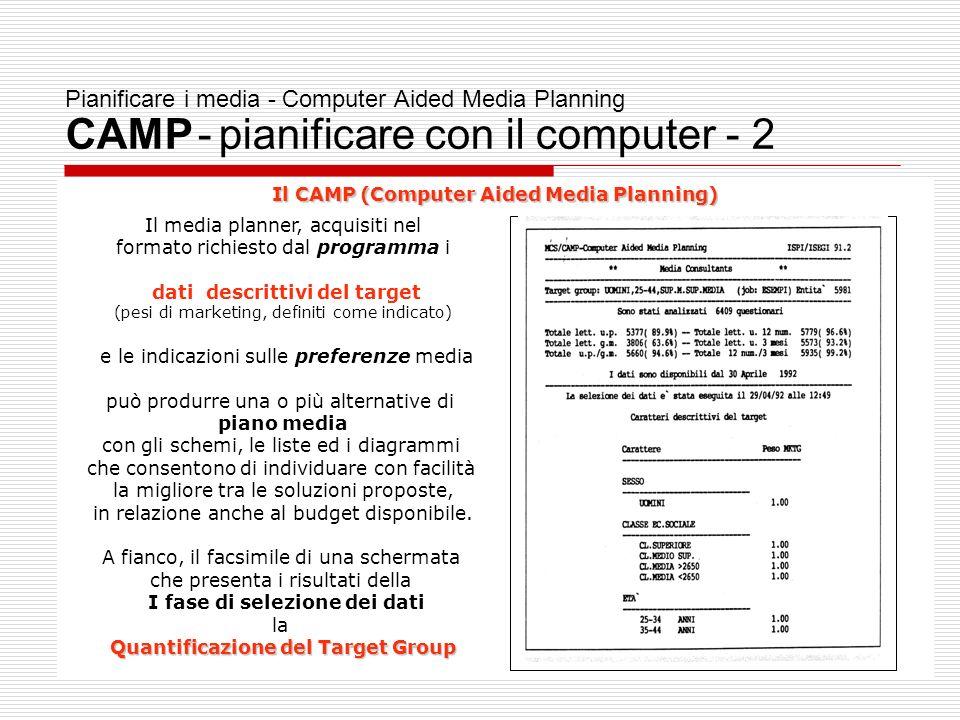 Pianificare i media - Computer Aided Media Planning CAMP - pianificare con il computer - 2