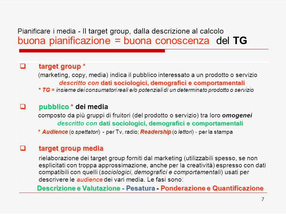 Pianificare i media - Il target group, dalla descrizione al calcolo buona pianificazione = buona conoscenza del TG