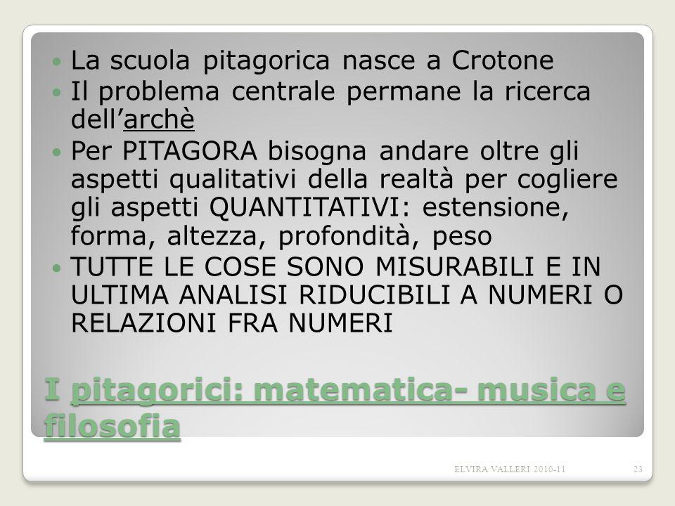 I pitagorici: matematica- musica e filosofia