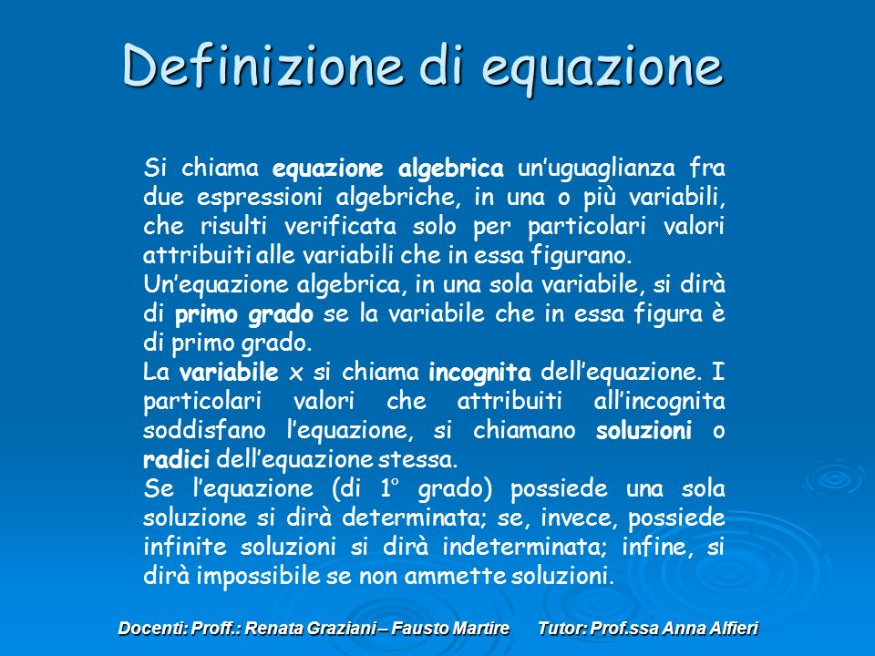 Definizione di equazione