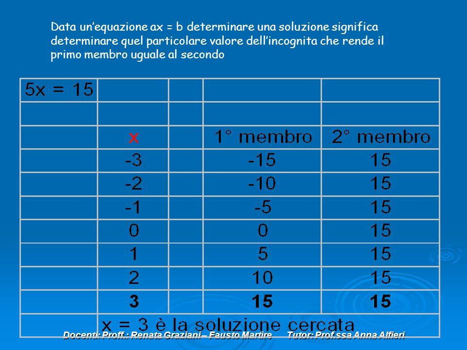 Data un'equazione ax = b determinare una soluzione significa determinare quel particolare valore dell'incognita che rende il primo membro uguale al secondo
