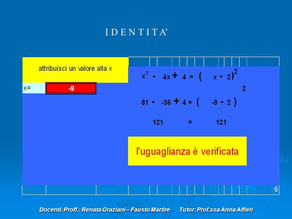 I D E N T I T A' Docenti: Proff.: Renata Graziani – Fausto Martire Tutor: Prof.ssa Anna Alfieri.