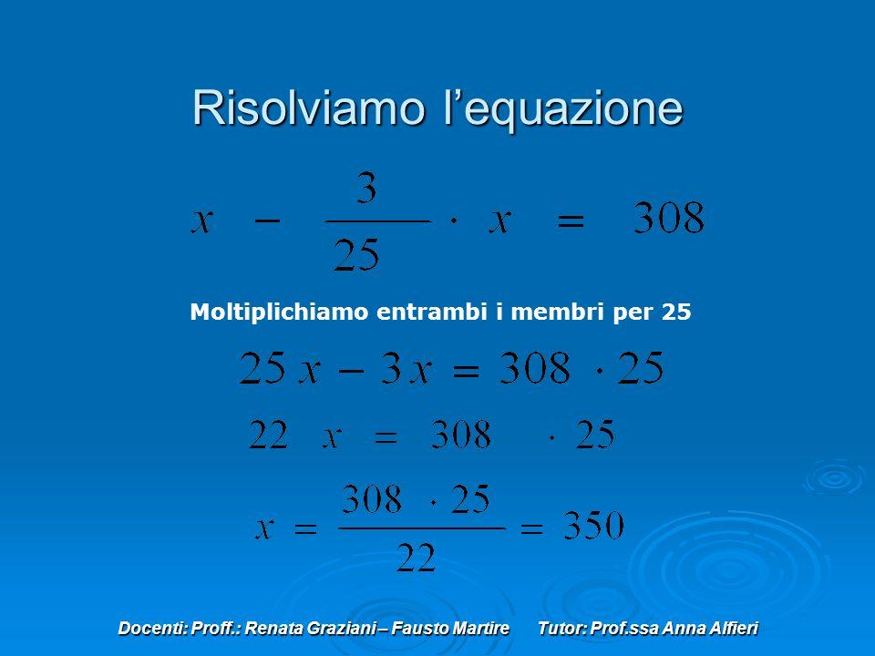 Risolviamo l'equazione