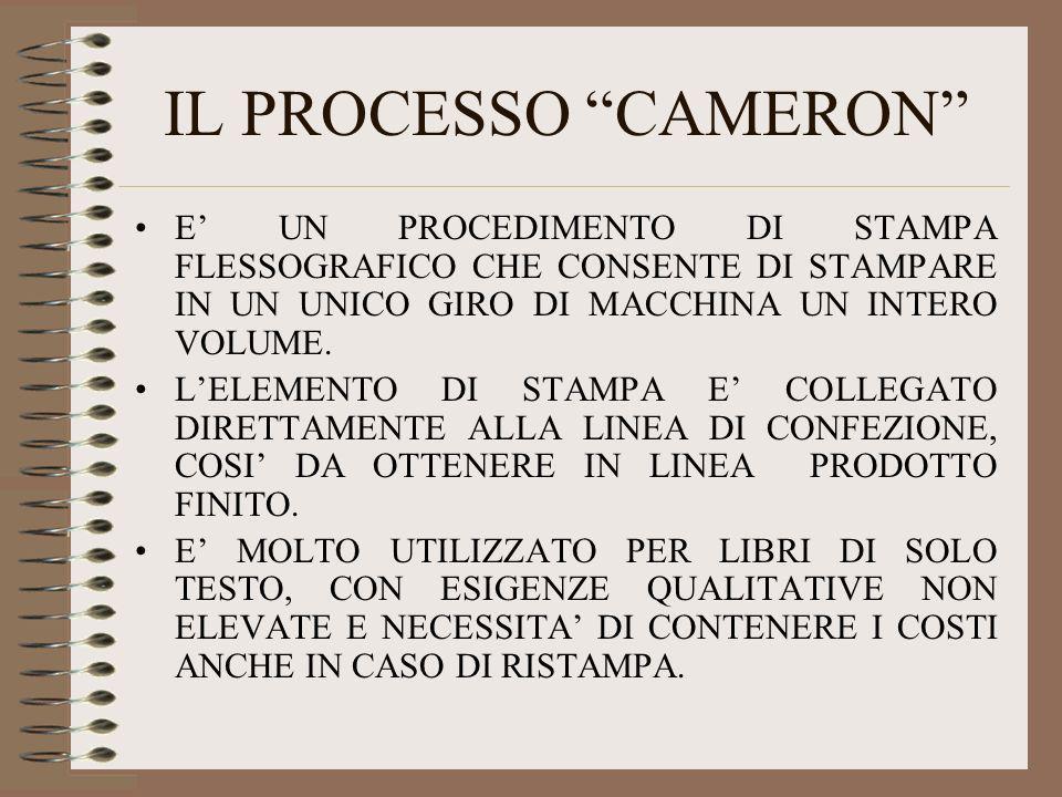 IL PROCESSO CAMERON E' UN PROCEDIMENTO DI STAMPA FLESSOGRAFICO CHE CONSENTE DI STAMPARE IN UN UNICO GIRO DI MACCHINA UN INTERO VOLUME.