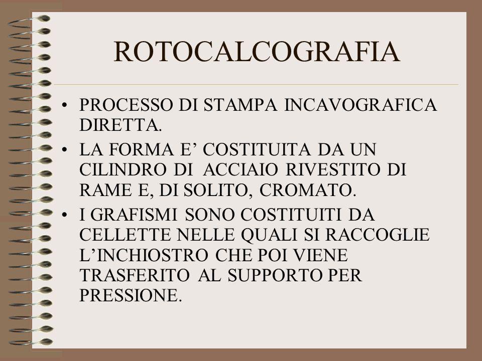 ROTOCALCOGRAFIA PROCESSO DI STAMPA INCAVOGRAFICA DIRETTA.