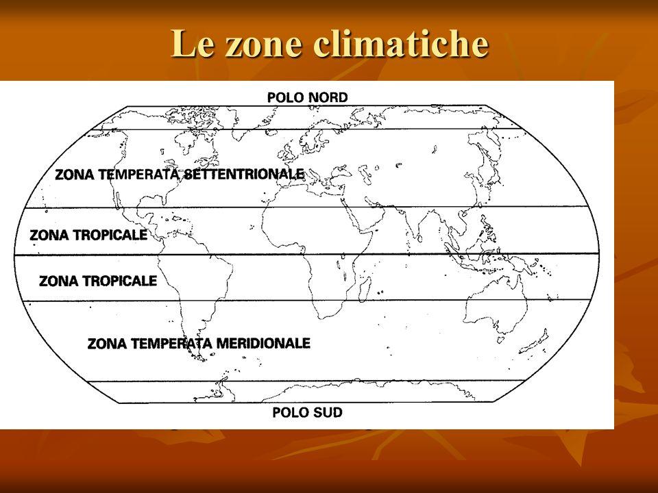 Le zone climatiche Le zone climatiche sono determinate dalla latitudine e dall'inclinazione dell'asse terrestre.