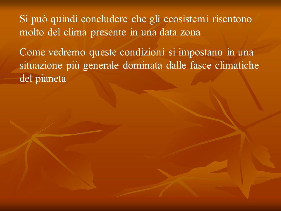 Si può quindi concludere che gli ecosistemi risentono molto del clima presente in una data zona