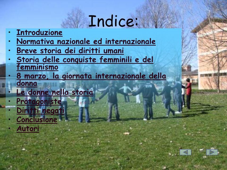 Indice: Introduzione Normativa nazionale ed internazionale