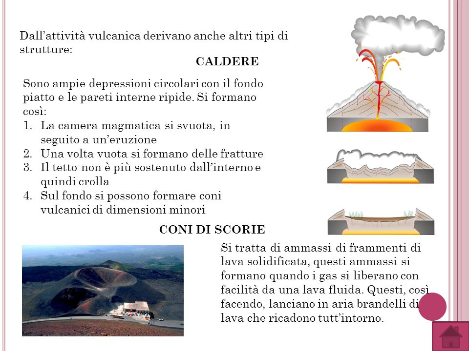 Dall'attività vulcanica derivano anche altri tipi di strutture: