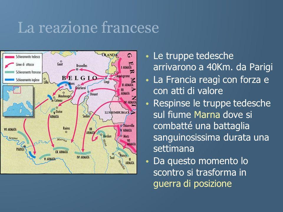 La reazione francese Le truppe tedesche arrivarono a 40Km. da Parigi