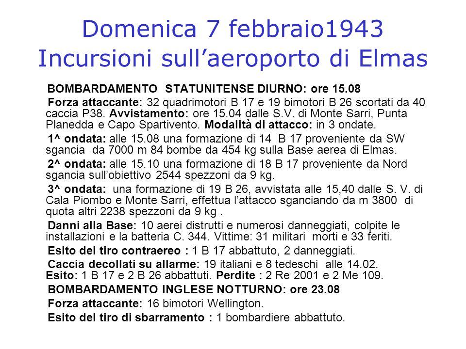 Domenica 7 febbraio1943 Incursioni sull'aeroporto di Elmas