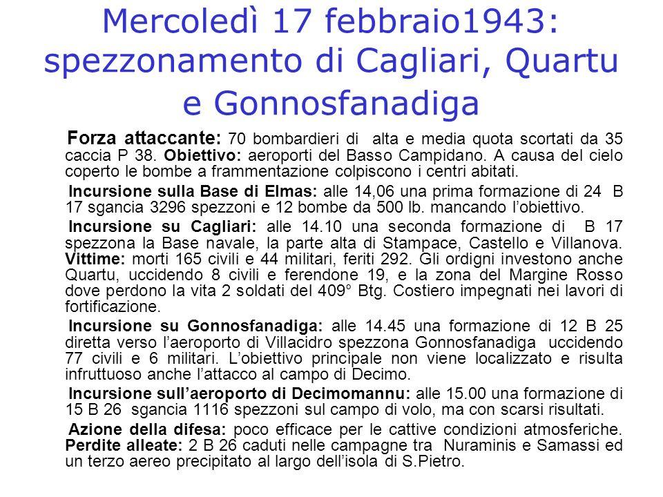 Mercoledì 17 febbraio1943: spezzonamento di Cagliari, Quartu e Gonnosfanadiga