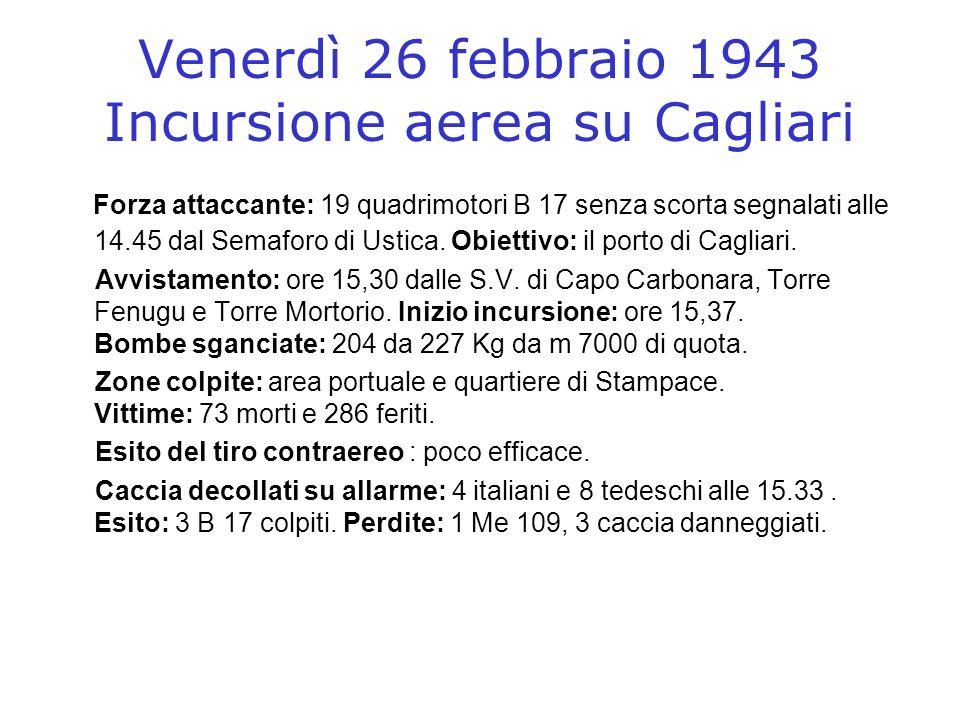Venerdì 26 febbraio 1943 Incursione aerea su Cagliari