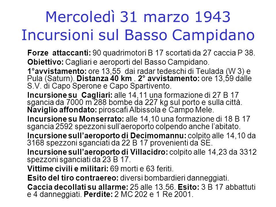 Mercoledì 31 marzo 1943 Incursioni sul Basso Campidano