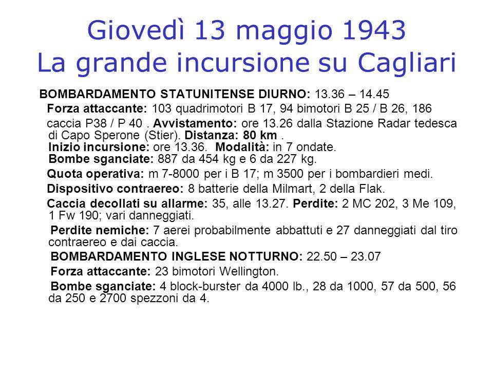 Giovedì 13 maggio 1943 La grande incursione su Cagliari