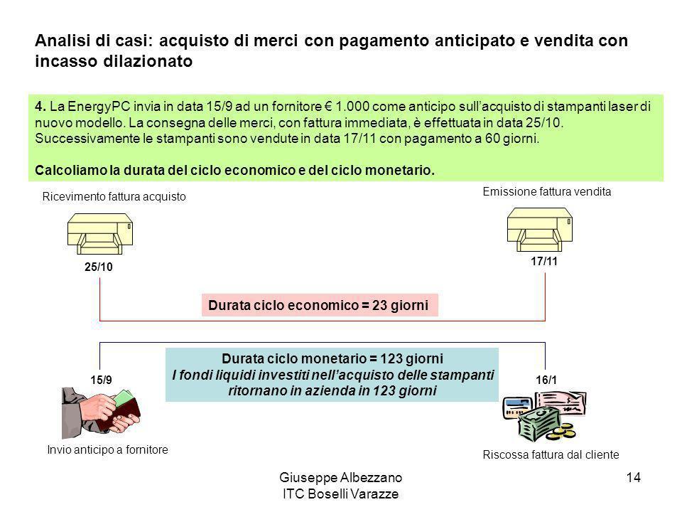 Analisi di casi: acquisto di merci con pagamento anticipato e vendita con incasso dilazionato