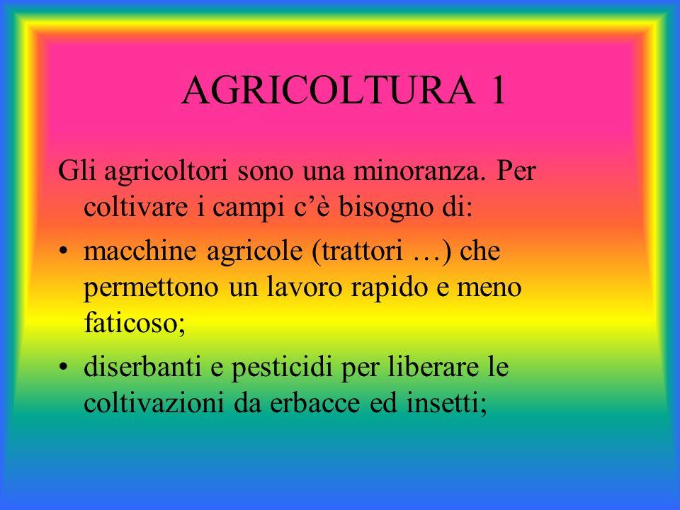AGRICOLTURA 1 Gli agricoltori sono una minoranza. Per coltivare i campi c'è bisogno di: