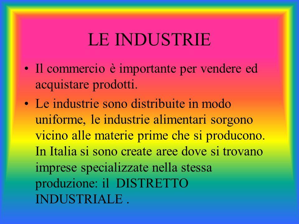 LE INDUSTRIE Il commercio è importante per vendere ed acquistare prodotti.