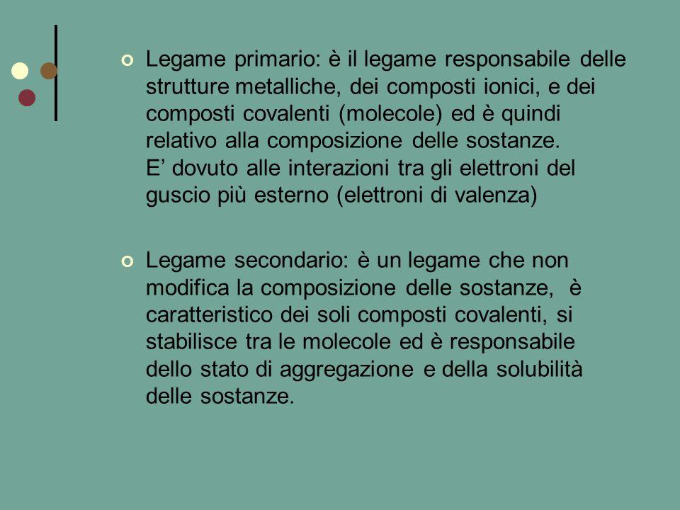 Legame primario: è il legame responsabile delle strutture metalliche, dei composti ionici, e dei composti covalenti (molecole) ed è quindi relativo alla composizione delle sostanze. E' dovuto alle interazioni tra gli elettroni del guscio più esterno (elettroni di valenza)