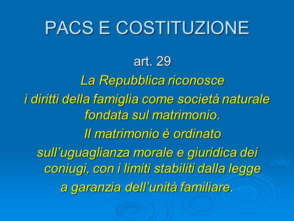 PACS E COSTITUZIONE art. 29 La Repubblica riconosce