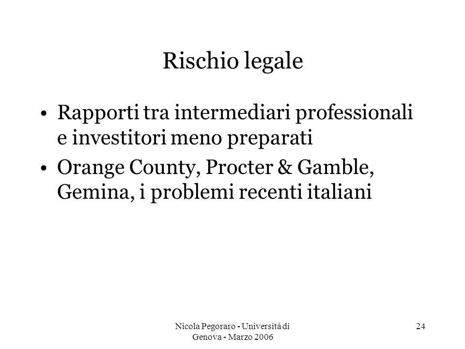 Nicola Pegoraro - Università di Genova - Marzo 2006