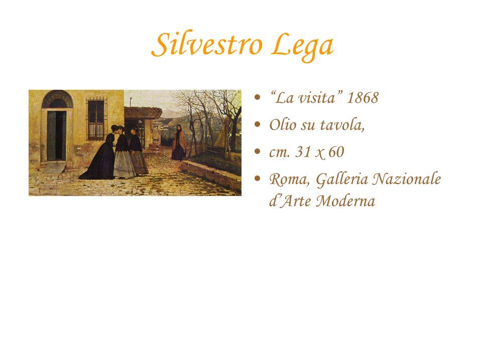 Silvestro Lega La visita 1868 Olio su tavola, cm. 31 x 60