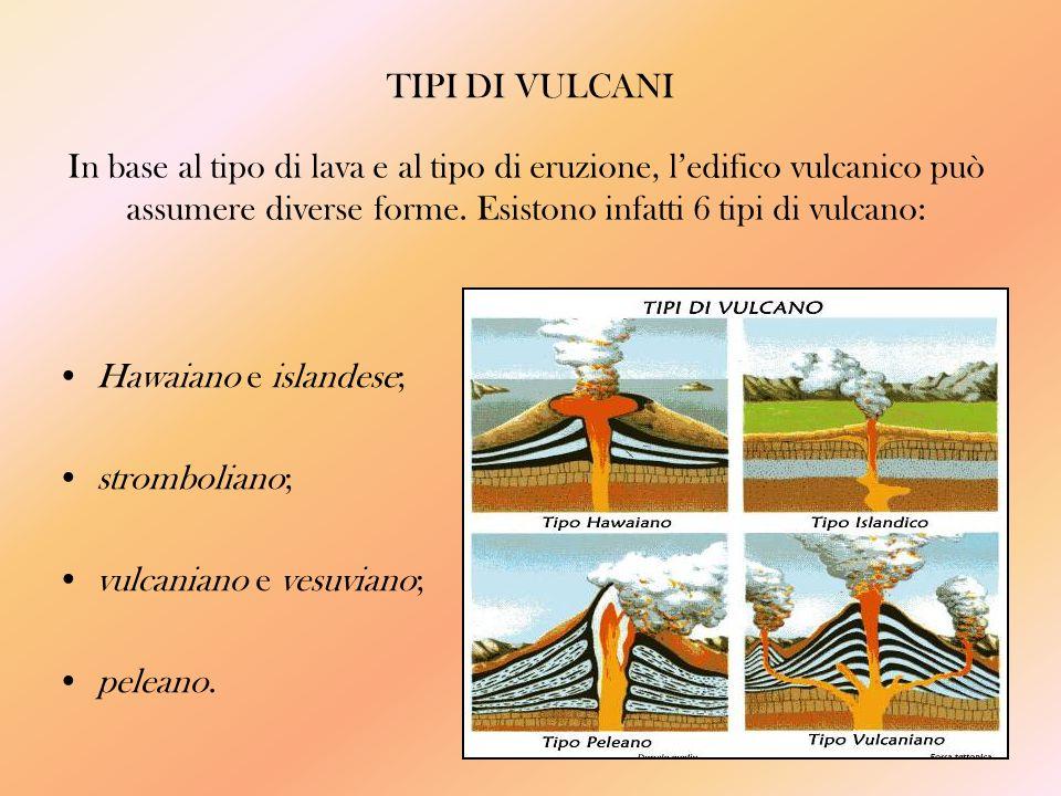 TIPI DI VULCANI In base al tipo di lava e al tipo di eruzione, l'edifico vulcanico può assumere diverse forme. Esistono infatti 6 tipi di vulcano: