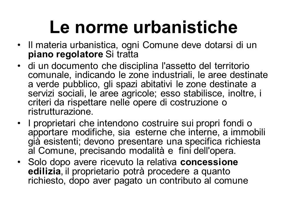 Le norme urbanistiche Il materia urbanistica, ogni Comune deve dotarsi di un piano regolatore Si tratta.