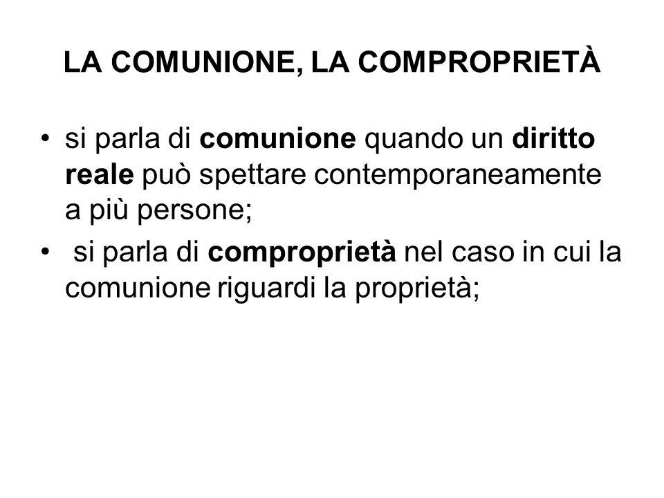 LA COMUNIONE, LA COMPROPRIETÀ