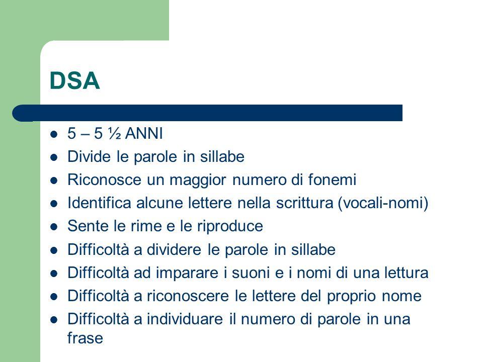 DSA 5 – 5 ½ ANNI Divide le parole in sillabe
