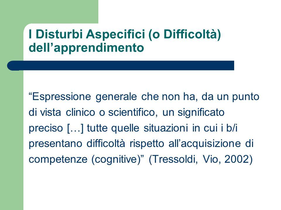 I Disturbi Aspecifici (o Difficoltà) dell'apprendimento