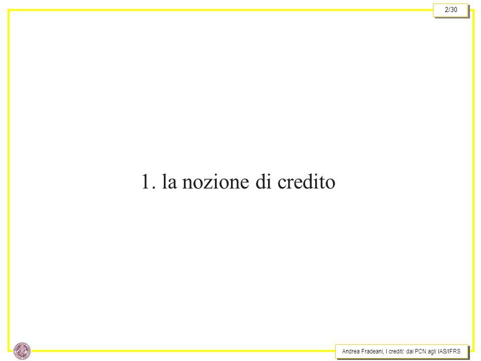 1. la nozione di credito