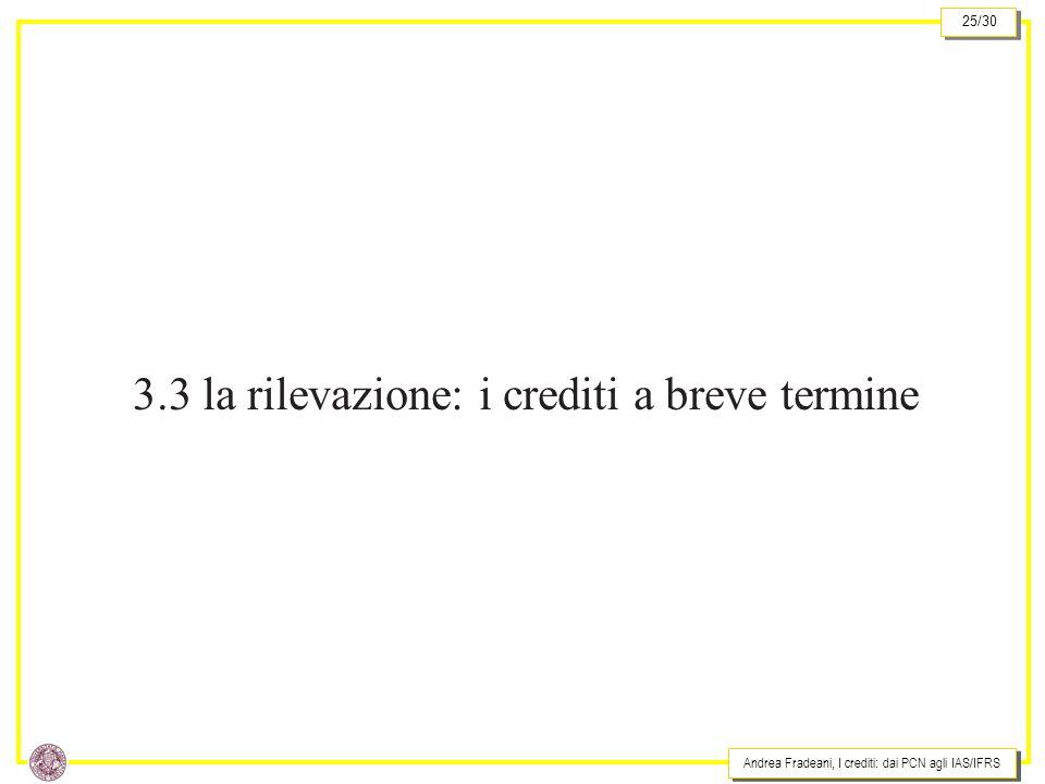 3.3 la rilevazione: i crediti a breve termine