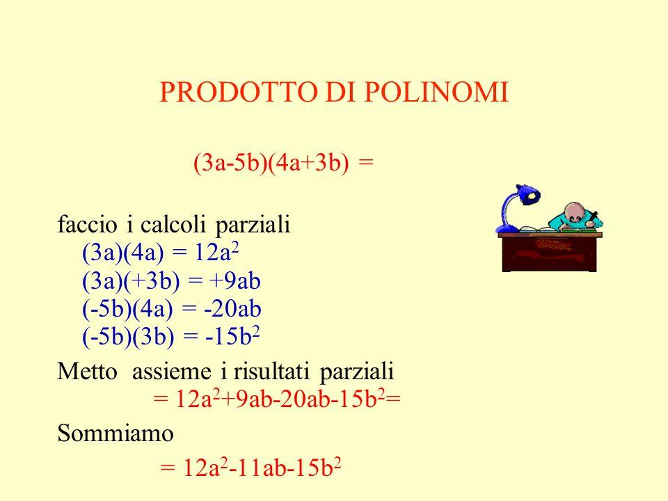 PRODOTTO DI POLINOMI (3a-5b)(4a+3b) =
